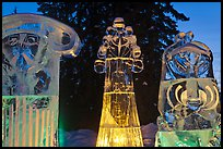Illuminated ice sculptures, 2012 World Ice Art Championships. Fairbanks, Alaska, USA (color)