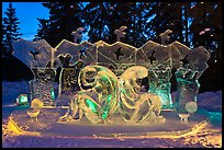 Ice sculptures lit with colored lights, 2012 Ice Alaska. Fairbanks, Alaska, USA (color)