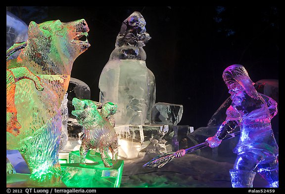 Multicolored Ice sculptures at night, George Horner Ice Park. Fairbanks, Alaska, USA (color)