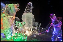 Multicolored Ice sculptures at night, George Horner Ice Park. Fairbanks, Alaska, USA ( color)