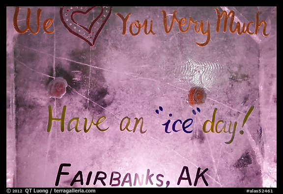 Welcome sign in ice, George Horner Ice Park. Fairbanks, Alaska, USA (color)