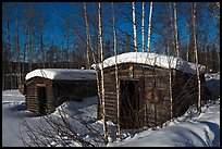 Cabins with gold dredging equipment, Chatanika. Alaska, USA ( color)
