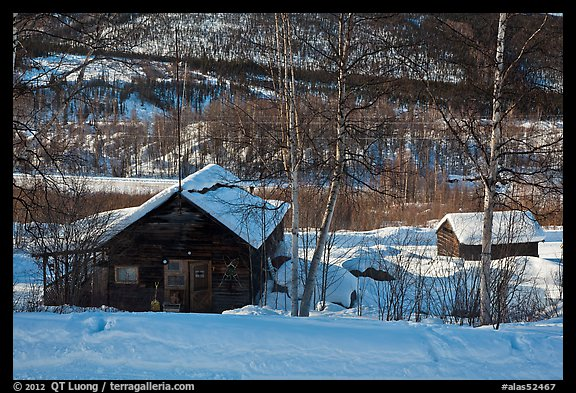 Mining camp in winter, Chatanika. Alaska, USA (color)