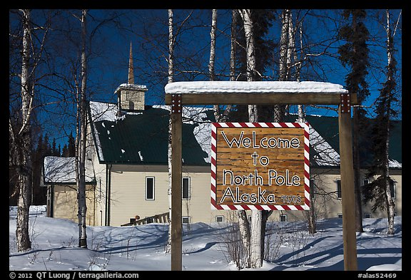 Welcome sign and church. North Pole, Alaska, USA (color)