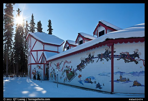 Santa Claus House and sun in winter. North Pole, Alaska, USA