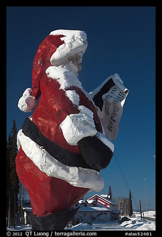 Santa Claus statue and house. North Pole, Alaska, USA (color)