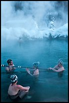 People with frozen hair relaxing in hot springs. Chena Hot Springs, Alaska, USA (color)