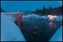 Hot springs at night in winter. Chena Hot Springs, Alaska, USA (color)