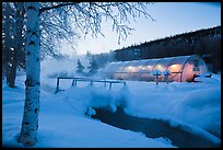 Stream and greenhouse at dawn. Chena Hot Springs, Alaska, USA (color)
