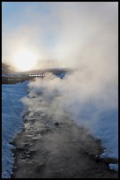 Oulet stream of hot springs and steam at sunrise. Chena Hot Springs, Alaska, USA ( color)