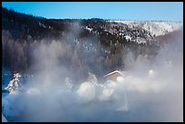 Pool, steam, and resort in winter. Chena Hot Springs, Alaska, USA (color)