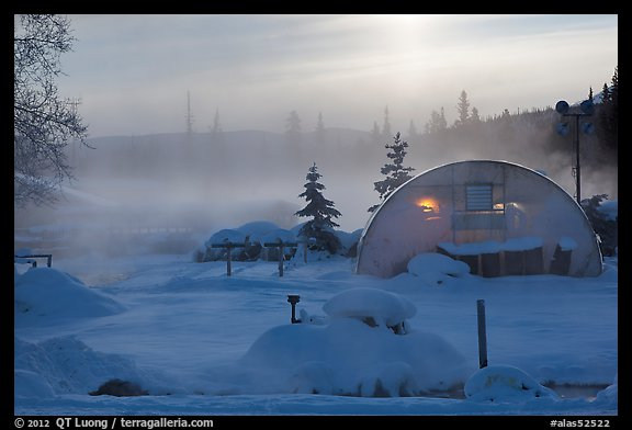 Greenhouse and steam. Chena Hot Springs, Alaska, USA (color)