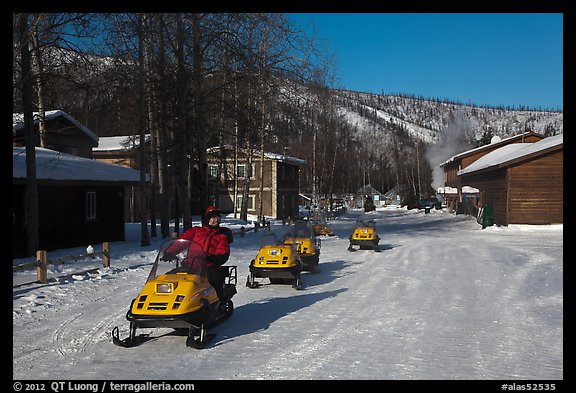 Snowmobiles and resort. Chena Hot Springs, Alaska, USA (color)