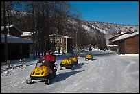 Snowmobiles and resort. Chena Hot Springs, Alaska, USA ( color)