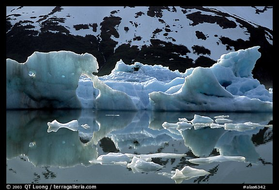Icebergs and reflections, Portage Lake. Alaska, USA