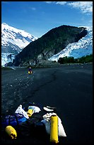 Kayaking gear on Black Sand Beach. Prince William Sound, Alaska, USA