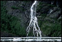 Waterfall dropping into the sea. Prince William Sound, Alaska, USA ( color)