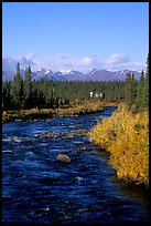 River and cabin, Denali Highway. Alaska, USA