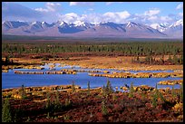 Kettle Lakes, tundra, and mountains. Alaska, USA (color)