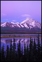 Snowy peaks and lake at dusk. Alaska, USA (color)
