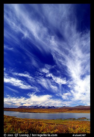 Big sky, clouds, tundra and lake. Alaska, USA