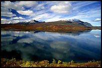 Lake and reflections, Denali Highway. Alaska, USA ( color)
