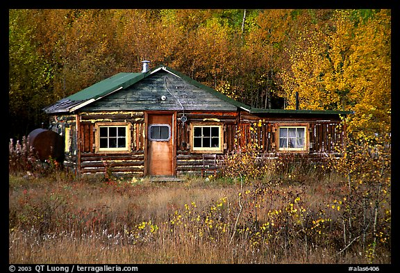 Wooden cabin. Alaska, USA (color)
