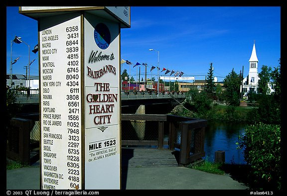 Sign showing distances to major cities on the globe in Fairbanks. Fairbanks, Alaska, USA (color)