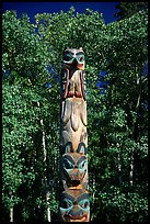 Totem pole, University of Alaska. Fairbanks, Alaska, USA (color)