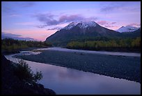 Matanuska River and Chugach mountains at sunset. Alaska, USA