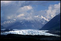 Matanuska Glacier, mountains, and clouds. Alaska, USA (color)