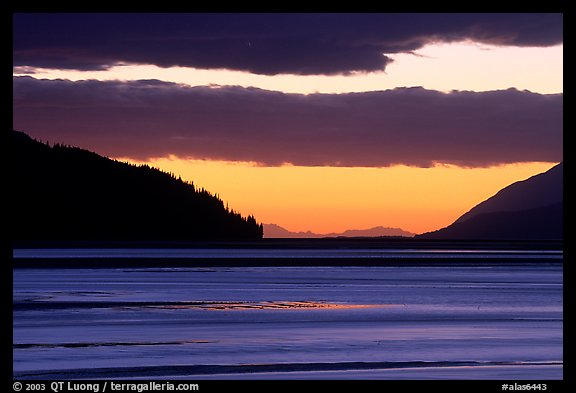 Fjord at sunset, Turnagain Arm. Alaska, USA