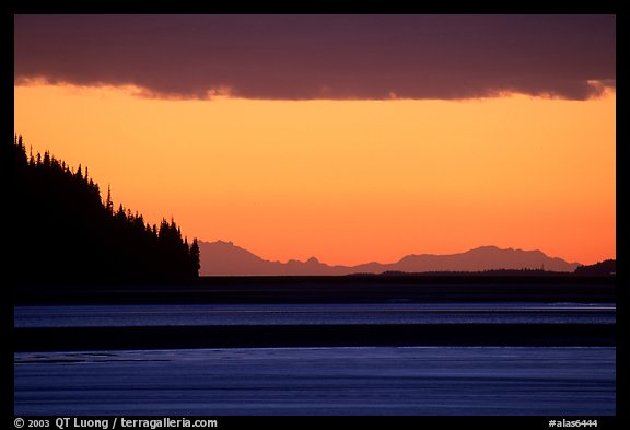 Turnagain Arm at sunset. Alaska, USA (color)