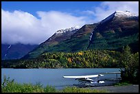 Floatplane, Lake, and mountains. Alaska, USA (color)