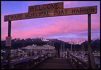 Seward harbor at sunset. Seward, Alaska, USA