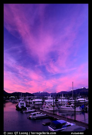 Seward harbor at sunset. Seward, Alaska, USA (color)