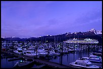 Seward harbor at dusk. Seward, Alaska, USA
