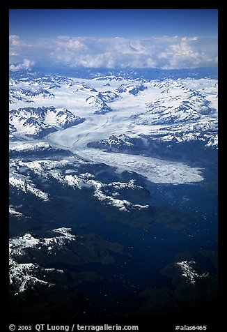 Aerial view of the Columbia Glacier. Prince William Sound, Alaska, USA