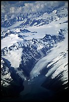 Aerial view of Glaciers and Fjords in Prince William Sound. Prince William Sound, Alaska, USA (color)
