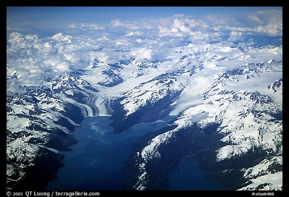 Aerial view of tidewater glaciers in Prince William Sound. Prince William Sound, Alaska, USA (color)