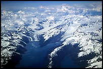 Aerial view of tidewater glaciers in Prince William Sound. Prince William Sound, Alaska, USA ( color)