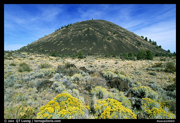 Cinder cone and sage,  Lava Beds National Monument. California, USA