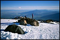 Mountaineers camping on the slopes of Mt Shasta. California, USA