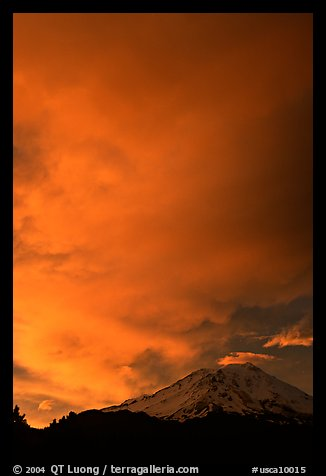 Clouds dramatically colored at sunset above Mt Shasta. California, USA (color)