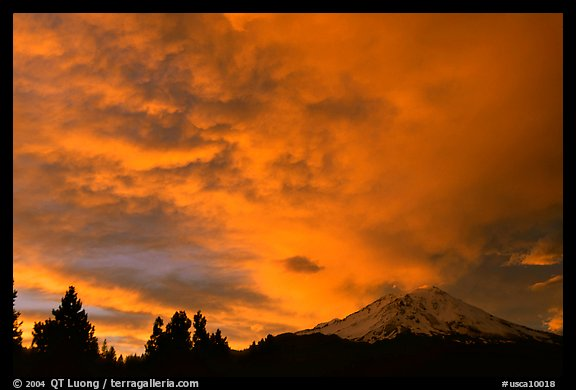 Clouds over Mt Shasta at sunset. California, USA (color)