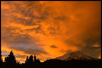 Clouds over Mt Shasta at sunset. California, USA