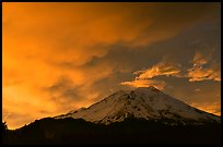 Fiery sky over Mount Shasta at sunset. California, USA