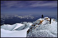 Mountaineers on the summit of Mt Shasta. California, USA