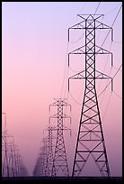 High tension power lines at dusk. California, USA (color)