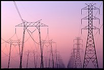 High voltage power lines at dusk. California, USA ( color)